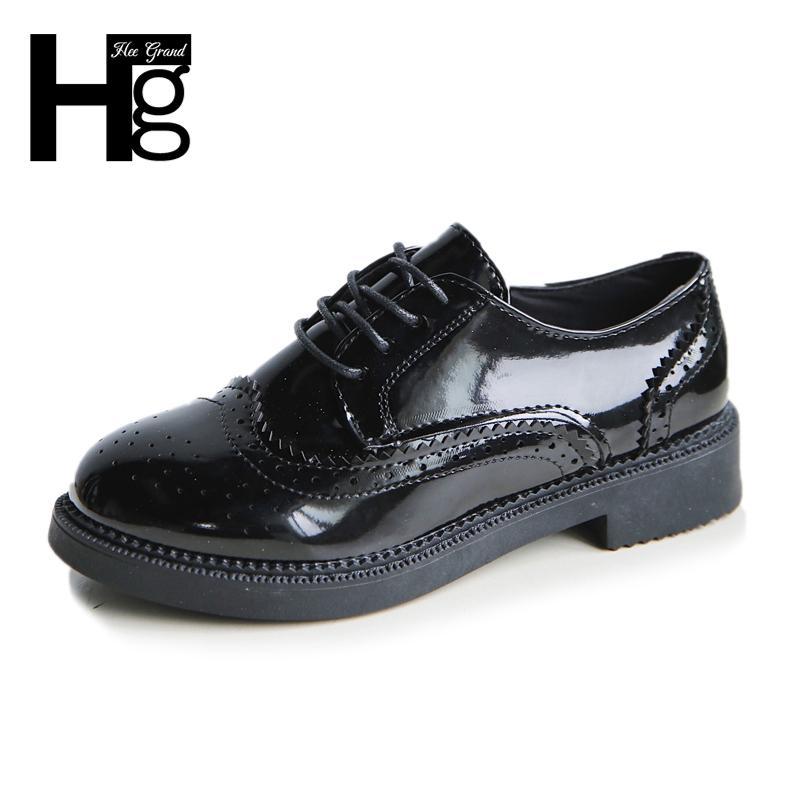 d19ecdc0e4a87 Acheter Chaussures HEE GRAND Brogue Bas Talons Femmes Plateforme 2019 Printemps  Femme Découpé En Cuir Pu École Style Oxfords XWD6274 De  18.99 Du Deals99  ...