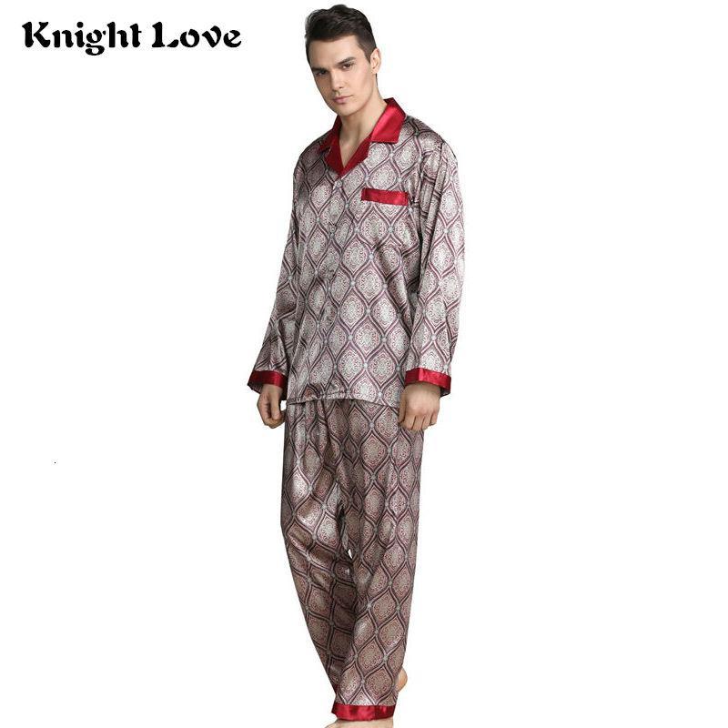 Long Sleeve Men/'s Sleepwear Plaid Pattern Pajamas Set Home Nightdress Tops+Pants