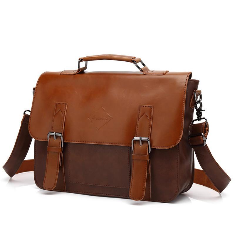5b2cbffbc939 Vintage Men's Business Briefcases Pu Leather Brown Mens Laptop Messenger  Bags Classic Portfolio Document Office Bag New