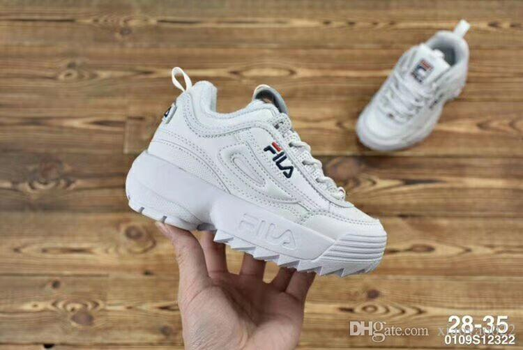 03new Baby Kids Original Casual Shoes White Pink Boys Girls II 2 Children FILE special section sports sneaker increased running shoes