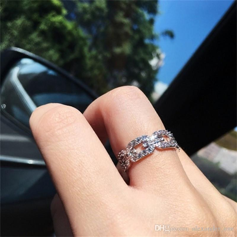 New Brand Fashion Hollow out Chain painting full SONA Diamond Ring Wedding Jewelry Sparkling 925 Sterling Silver Rings For Women