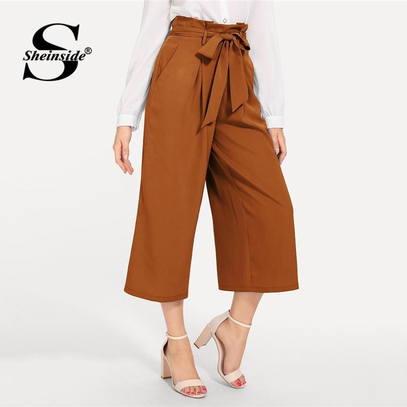 56c92156c2 2019 Sheinside Brown Slant Pocket Belted Wide Leg Pants Women Vintage  Trousers Office Ladies OL Work Solid Mid Waist Pants & Capris From  Xiatian6, ...