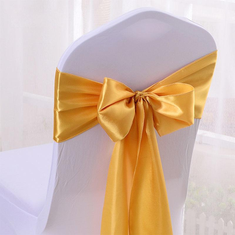 Hot 50pcs/lot 16*275cm Red/blue/yellow/purple Satin Bow Tie Ribbon Band Chair Cover Sash Hotel Banquet Wedding Party Decoration Q190603