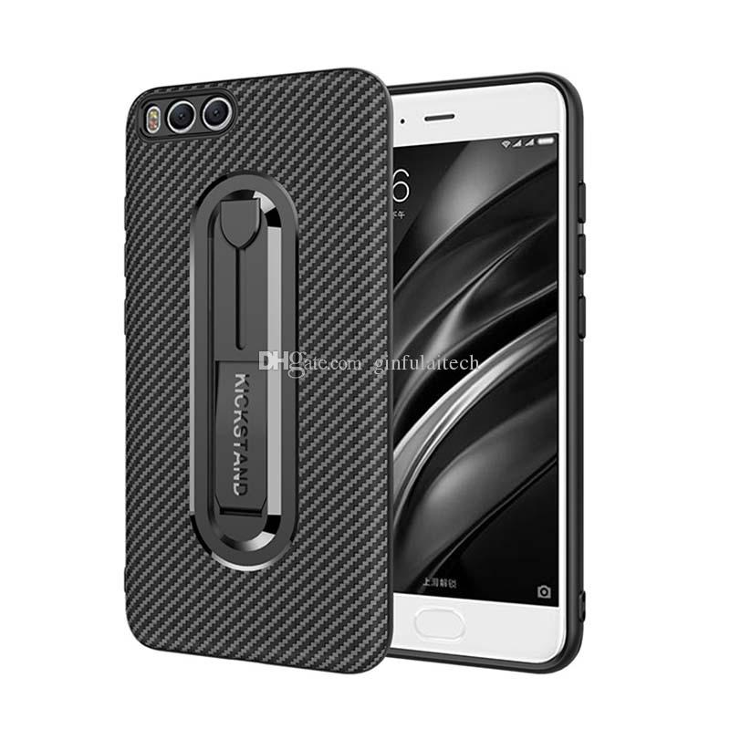 Carbon Fiber TPU Cell Phone Cases For Xiaomi 8 Redmi note 6 pro Mobile Phone Cases Back Cove Hidden Kickstandr