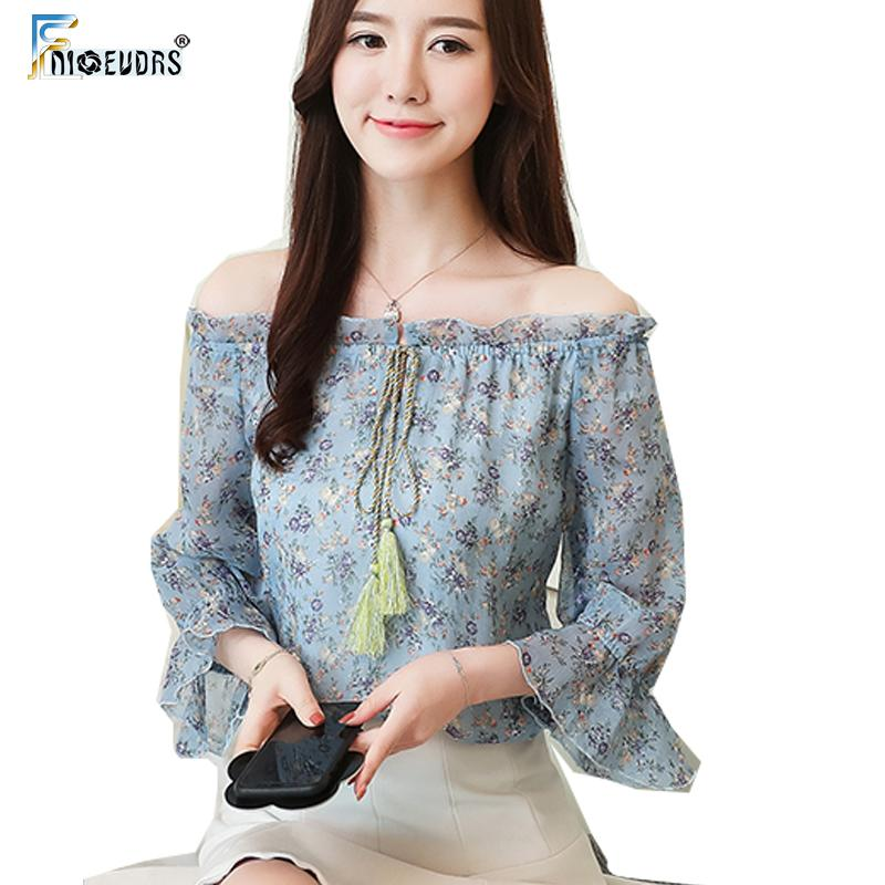 70275e82eb8 Chiffon Blouse Shirts Women Flare Sleeve Cute Sweet Bow Tie Tops Floral  Printed Chiffon Open Off Shoulder Top Shirt Green Blue