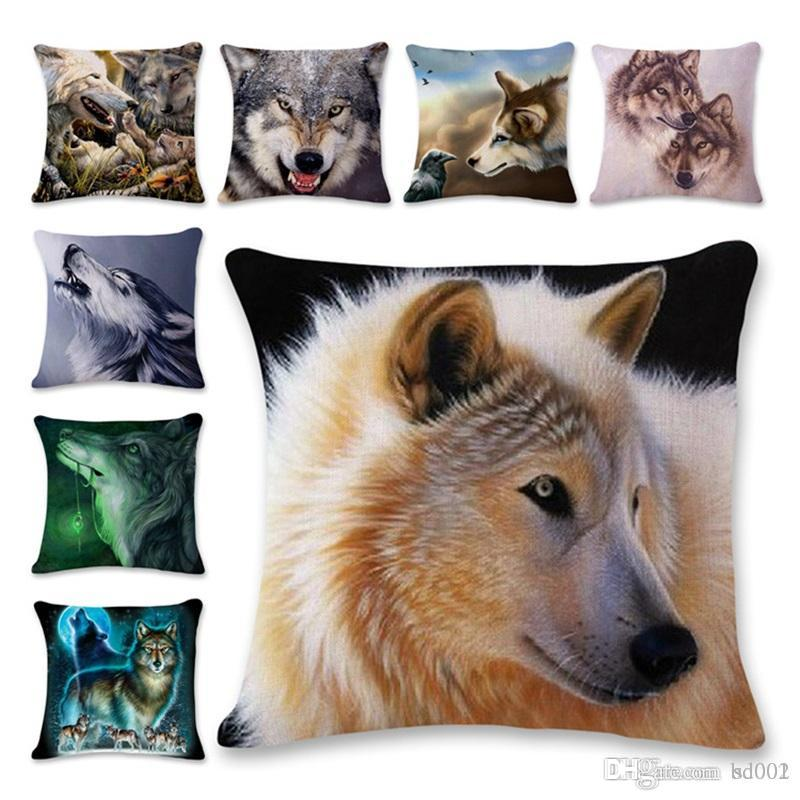 3d Animal Wolf Hemp Pillowcase Children Pillow Cover Lovely Student Household Man Woman Vehicle Use Pillow Cushion 6ls A1