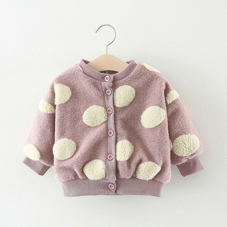 30f53f97b Children Autumn Winter Baby Girls Pink Black Infants Dot Polka ...