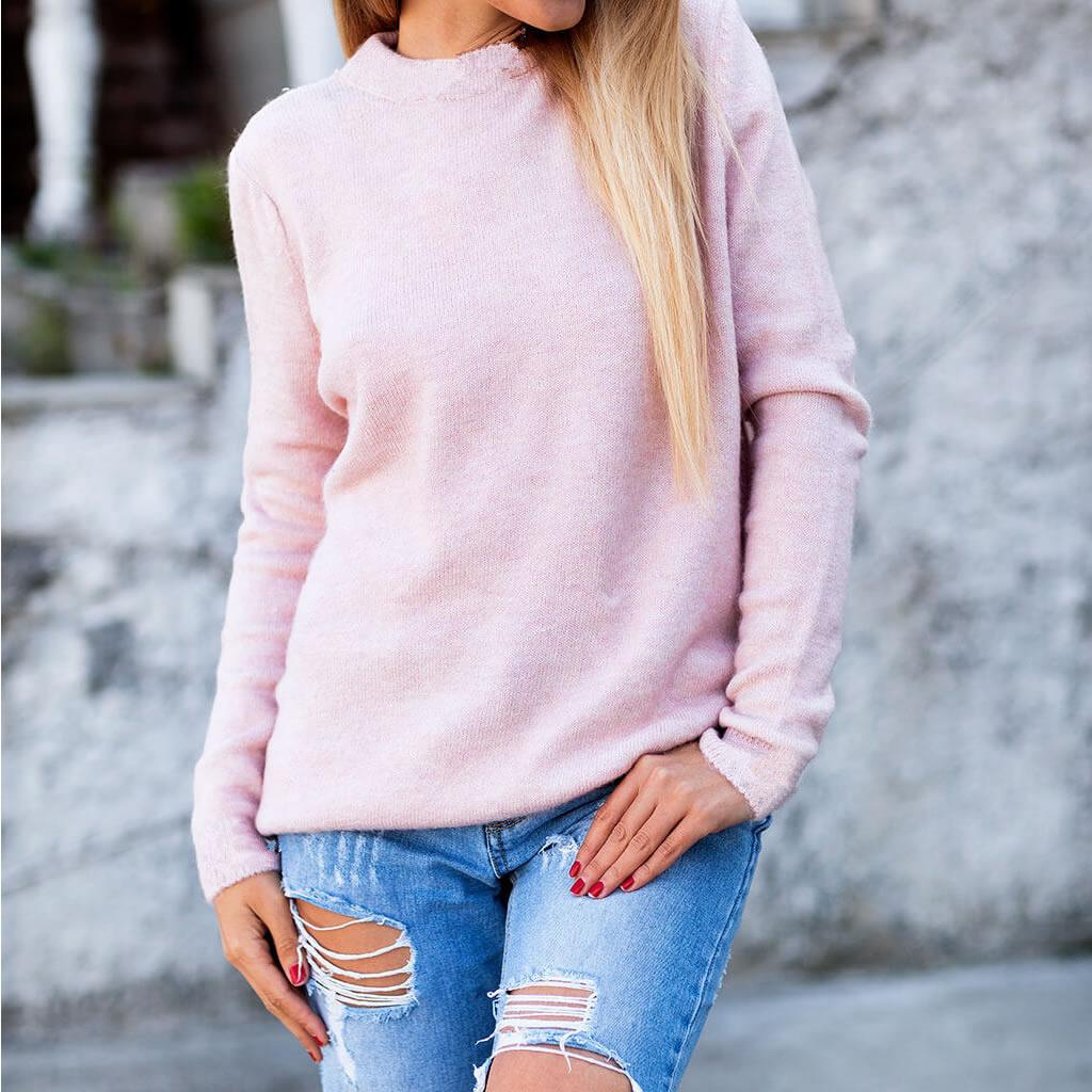 Knitted Women Top Sweater Woman Backless Loose Knitted Solid Sexy Sweater 2019 New Fashion Winter Outwear Casual