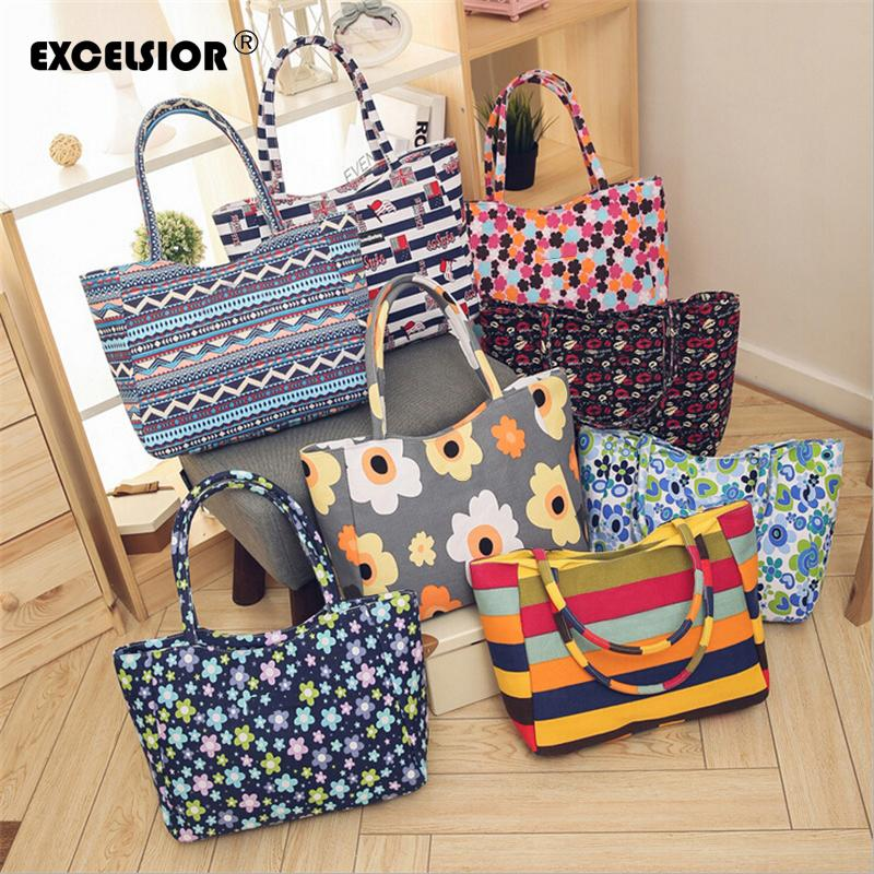 Excelsior New Beach Bag Casual Zipper Women's Bag Women Handbags Shopping Bag Large Tote Floral Printed Ladies Single Shoulder Y190626