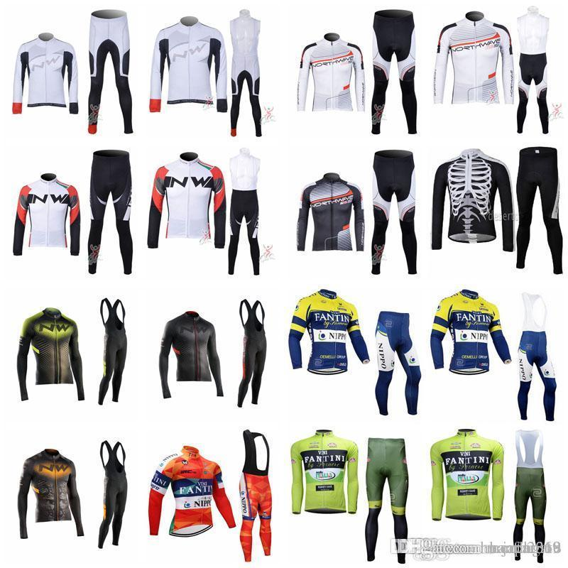 FANTINI NW team cycling jersey 2018 New Cycling Jersey Long Sleeve bib pants MTB Breathable Mountain Bike Riding Clothes E52303