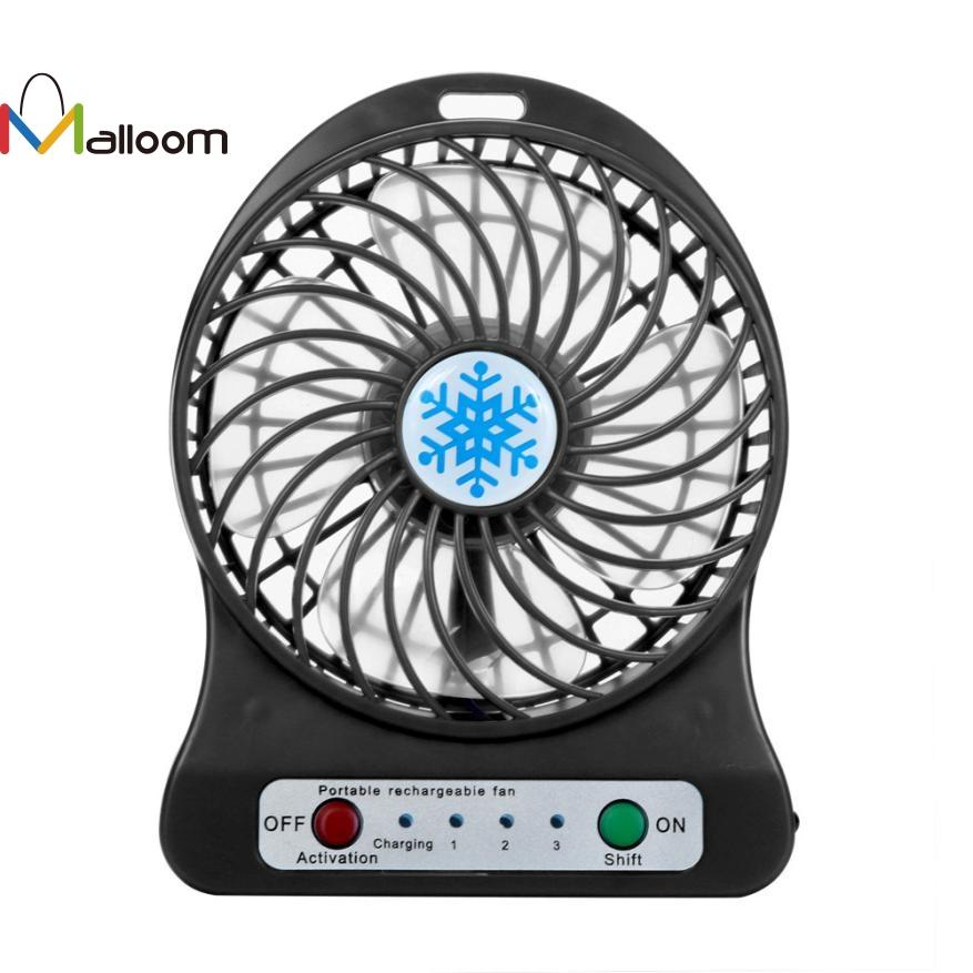 Malloom Summer Portable Rechargeable LED Light Fan Air Cooler Mini Desk USB 18650 Battery Fan for PC Laptop Computer 7color#30