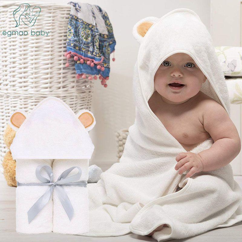 Bathing & Grooming Baby Hooded Premium Quality Organic Bamboo White Bath Towel And Washcloth Set Baby