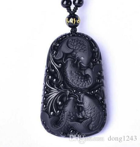 58x36mm wonderful work handmade Chinese black Natural obsidian carved fish happy Reunion Lucky blessing pendant necklace fashion