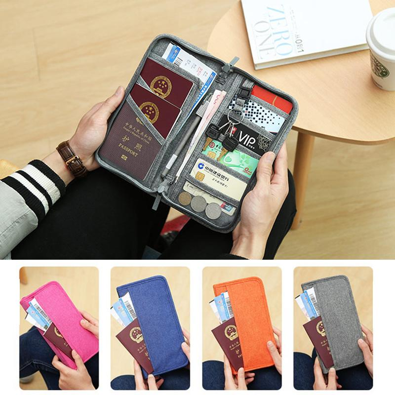 661494de2c0f long Zipper travel wallet for women ladies Family Passport Holder RFID  Blocking Document Organizer Card Coin Purse