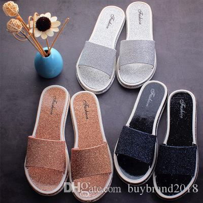 37f59b2c5 Wholesale 2019 Summer Women Luxury Beach Slippers Casual Sandals Sequins  Slides Outdoor Vogue Slippers Sandals Women Flip Flops Flats Shoe Blue Shoes  Womens ...