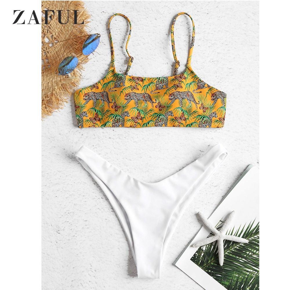 High Beach Suit Set Straps Swimsuit Cut Summer Swimwear Zaful Sexy Women Bikini Spaghetti Lady Bathing Leopard rtsQhd