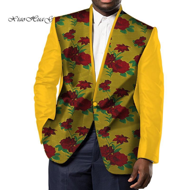 dc3220a32 Bordado hecho a mano banquete de boda cera de los hombres chaqueta Bazin  Riche imprimir Tops abrigo Blazer algodón Dashiki Europa africana ropa ...