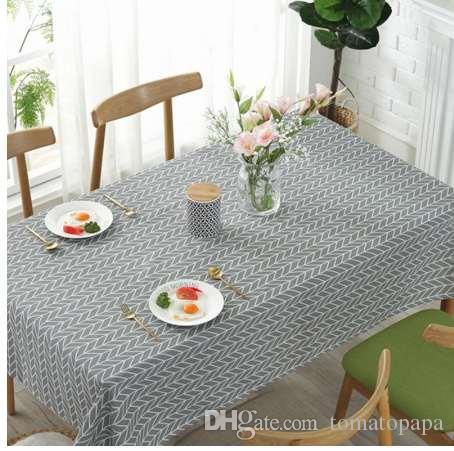 Großhandel Nordic Einfache Baumwolle Leinen Tischdecke
