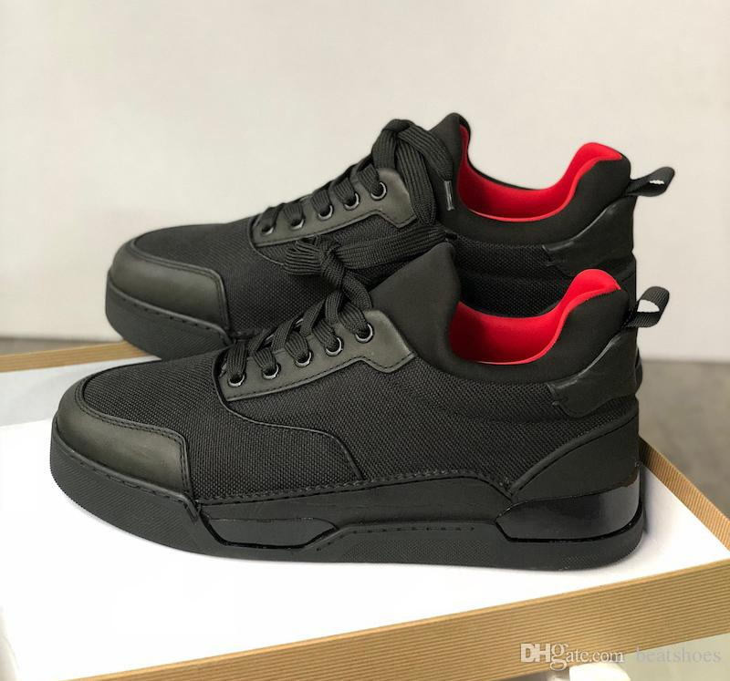 reputable site e981d 126c9 Luxury Designer Trainers Red Bottom Shoes Spikes Aurelien Flat Sneakers Men  Black Aurelien Trainers Casual Party Dress Shoes SZ US 11.5