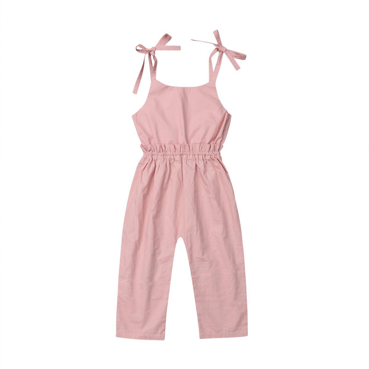 Neugeborene Kleinkind-Baby-Sommer-Backless Bügel-Rüschen Spielanzug-Overall Playsuit Baumwollbeiläufiges Baby-Kleidung 0-4Y