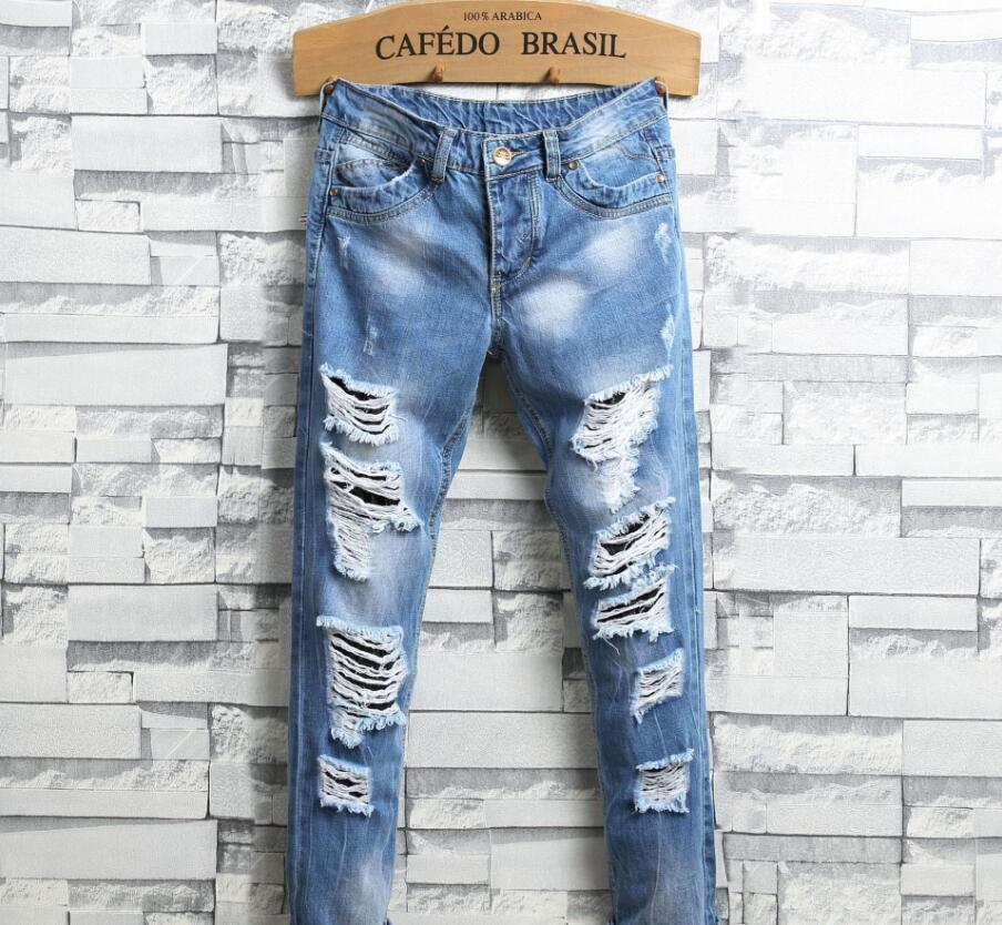 60e8f74ddb86 Men s straight hole smashed hole blue men s tide boy nostalgic worn men s  jeans