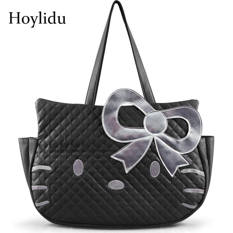 90658eac41 2019 Fashion Cute Hello Kitty PU Women Leather Handbags Female Black  Cartoon Shoulder Bag For Girls Casual Large Capacity Travel Tote Bag  Branded Bags ...