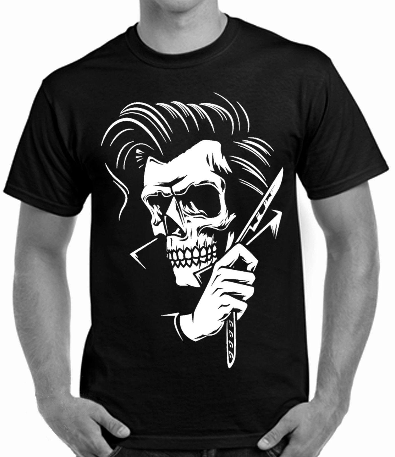 ed379d8b857 Print T Shirt 2019 Fashion Rockabilly Tattoo Hipster Barber Style T Shirt  Skull Mens  T Shirt Awesome Tee Shirt Designs T Shirts Awesome From  Eatipstore