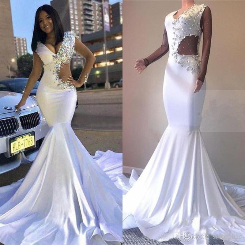 1fbf108b7f Sexy V-Neck 2019 White Formal Evening Gowns robe marriage Rhinestones Fit &  Flare Prom Dresses Long Mermaid Maxi Dress