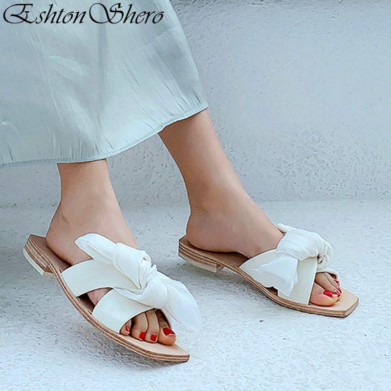 8e8553c7019c4f Acheter EshtonShero Beach Shoes Chaussons Femme Chaussures Femmes Talons  Plat Toe Slingback Papillon Noeud Ladies Chaussure De Mariage Taille 3 8 De  $66.14 ...