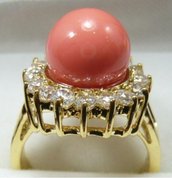 Jewelryr Jade Ring wholesael lady's noble 10mm pink shell pearl bead 18KGP plated ring(#6,7,8,9) Free Shipping