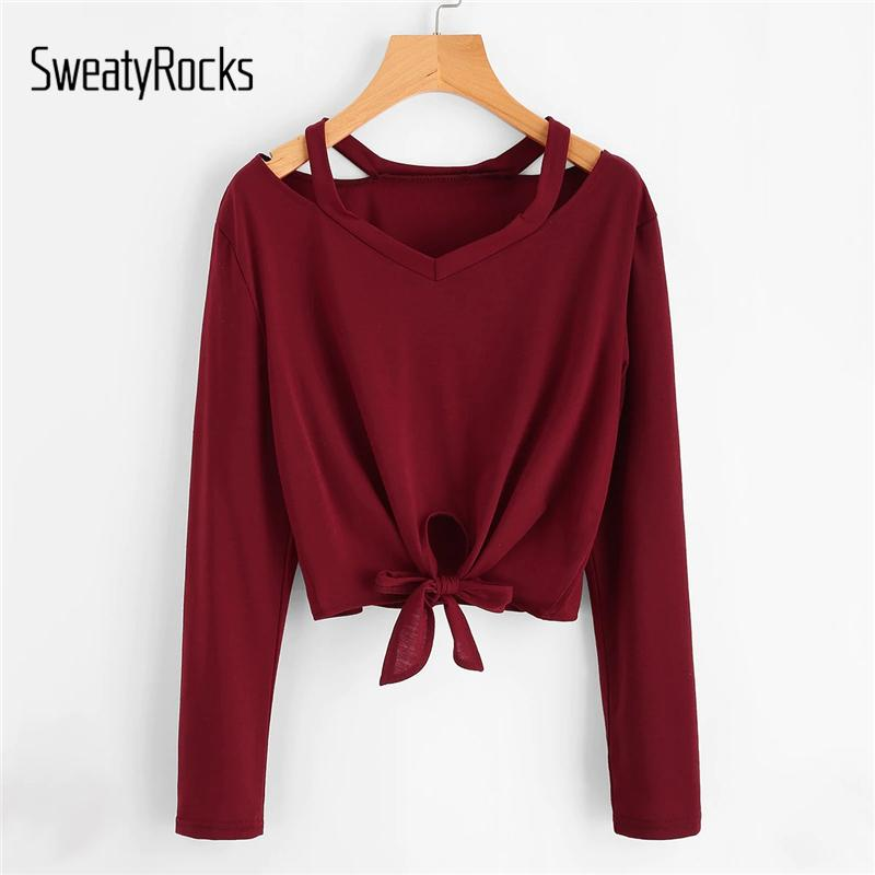 587a7a15e16 SweatyRocks Cut Out Neck Knot Front Tee V Neck Burgundy Casual Crop Tops  2019 Spring Streetwear Women Long Sleeve Style T Shirt Buy Tees Funniest T  Shirt ...