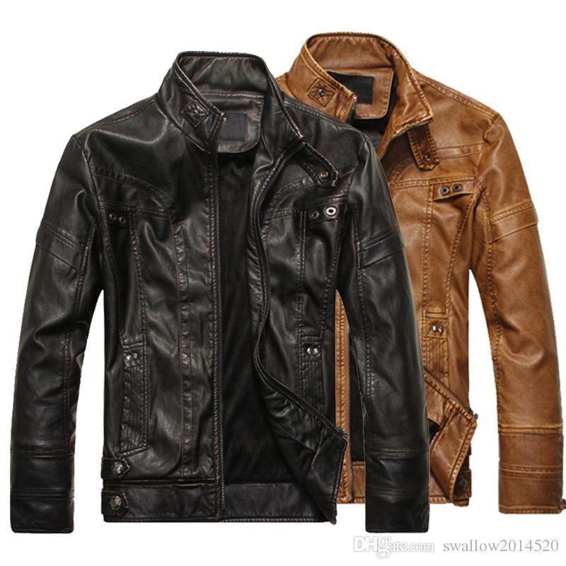 b842a8c6309 Nice Mens Motorcycle Leather Jackets Slim Fit Stand Collar Faux Leather  Coat Long Sleeve Black Moto Jackets M 2XL Mens Winter Jackets Red Leather  Jacket ...