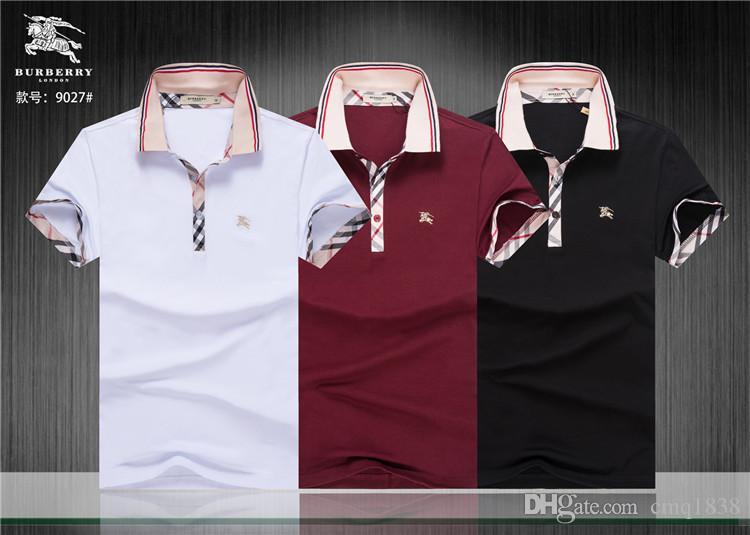 447631be1 Compre Marca Designer Polo Verão Camisa Homens Tops De Manga Curta Roupas  Com Padrão De Alta Qualidade De Moda De Luxo Camisas De Cmq1838