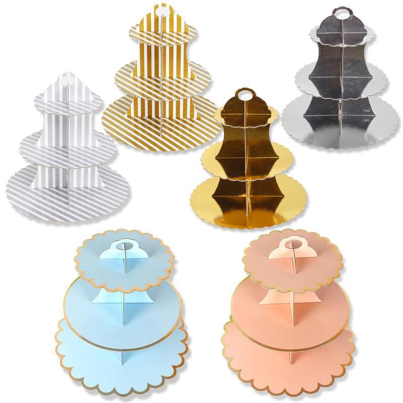 Desechable de 3 gradas papel de la torta del soporte de placas banquete de boda de té de la tarde Vajilla Dulces bandeja de la cena de visualización para hornear la torta de Estante