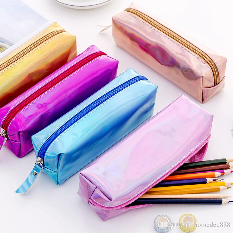 Iridescent Laser Pencil Case Quality PU School Supplies Stationery Gift Pencilcase School Cute Pencil Box School Tools VT1444