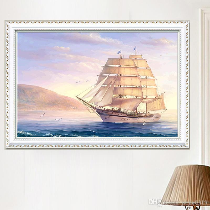 DIY Diamond Painting Embroidered White Sailboat 5D Mosaic Ocean Sailboat Cross-stitch Smooth sailing Sunrise Sunset Decoration Painting New