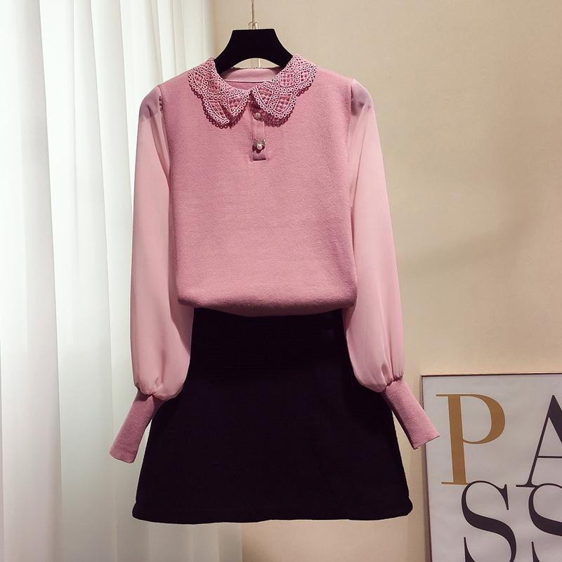 2019 2019 New Korean Fashion Women S Sweet Lace Doll Collar Knitted ... cad7169fc