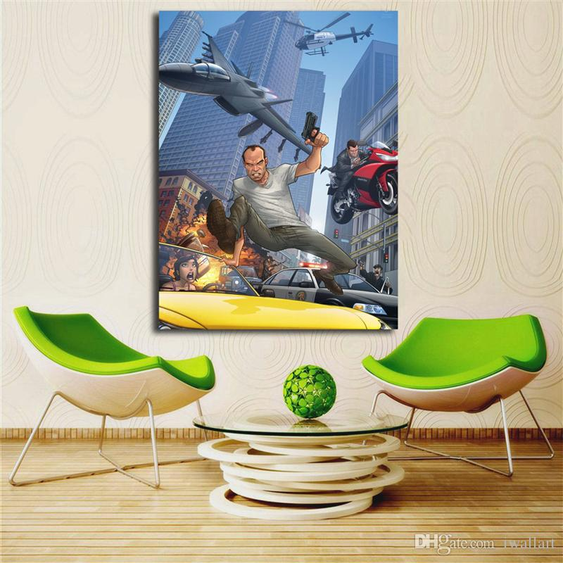 Grand Theft Auto V Rockstar Games Canvas Painting Oil Print Poster Wall Art Picture For Living Room Home Decor