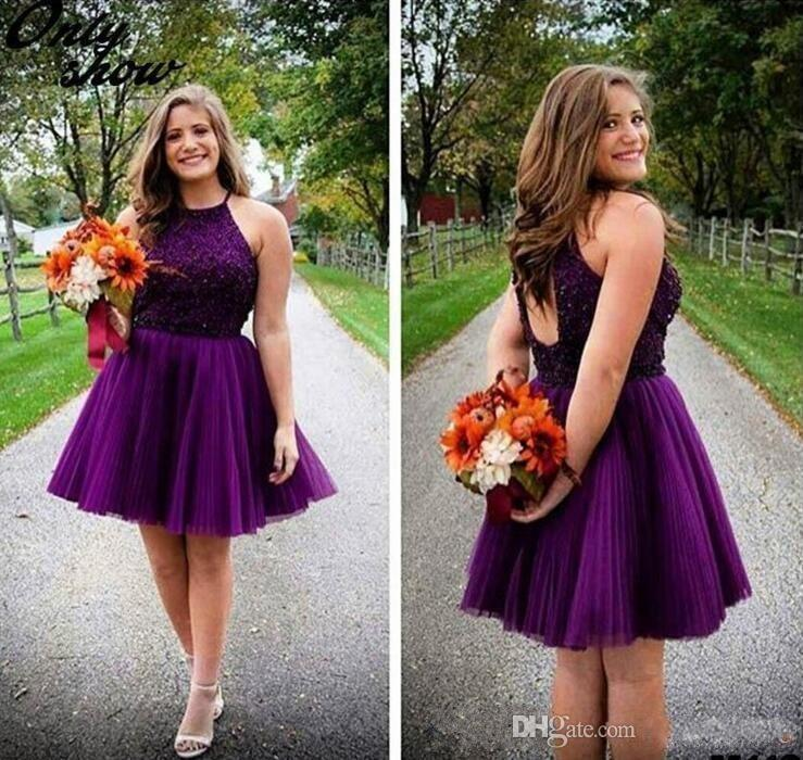 122cc41d497 New Purple Short Homecoming Dresses Halter Backless Beads Tulle ...