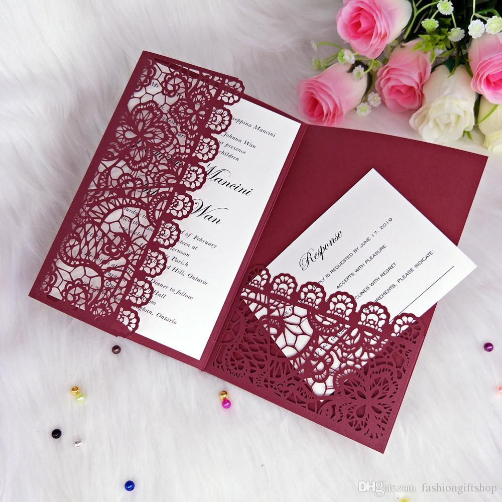 Elegant Burgundy Lace Laser Cut Pocket Wedding Invitations