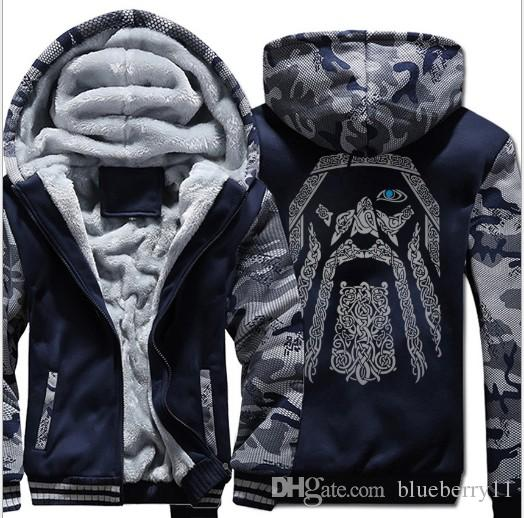 Odin Vintage Hoodie Coat Men Winter Fleece Thick Zipper Unique Father's Day Gifts Jacket Sweatshirt Hip Hop Streetwear