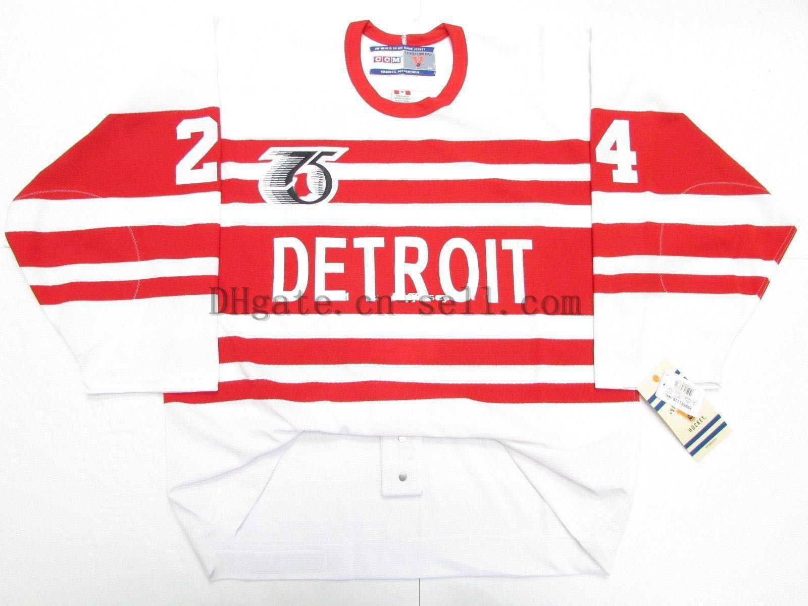 Cheap custom BOB PROBERT DETROIT RED WINGS TBTC 1992 VINTAGE CCM 6100 JERSEY stitch add any number any name Mens Hockey Jersey XS-6XL
