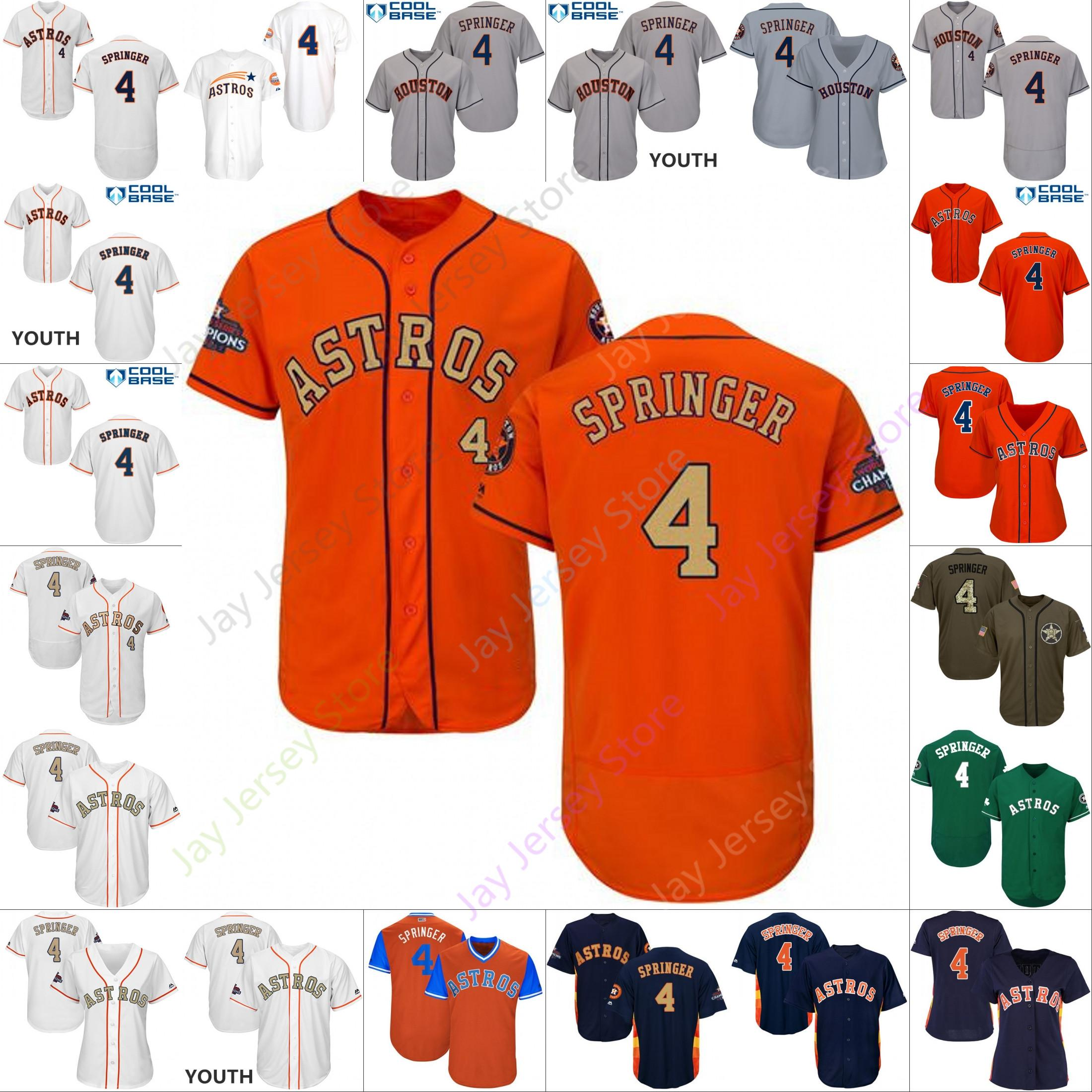 buy online ecf7f 11b5c Custom Houston 4 George Springer Jersey Astros Jerseys Cooperstown Cool  Base Flexbase White Black Red Grey Home Away Men Women Youth Cheap