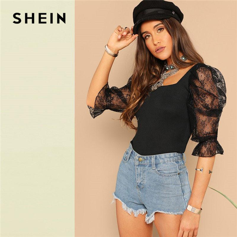 062fa98ed9 SHEIN Going Out Highstreet Black Lace Puff Sleeve Rib Knit Tee 2019 Spring  Glamorous Women Square Neck Backless Tshirt Tops Custom T Shirts T Shirt  Printing ...