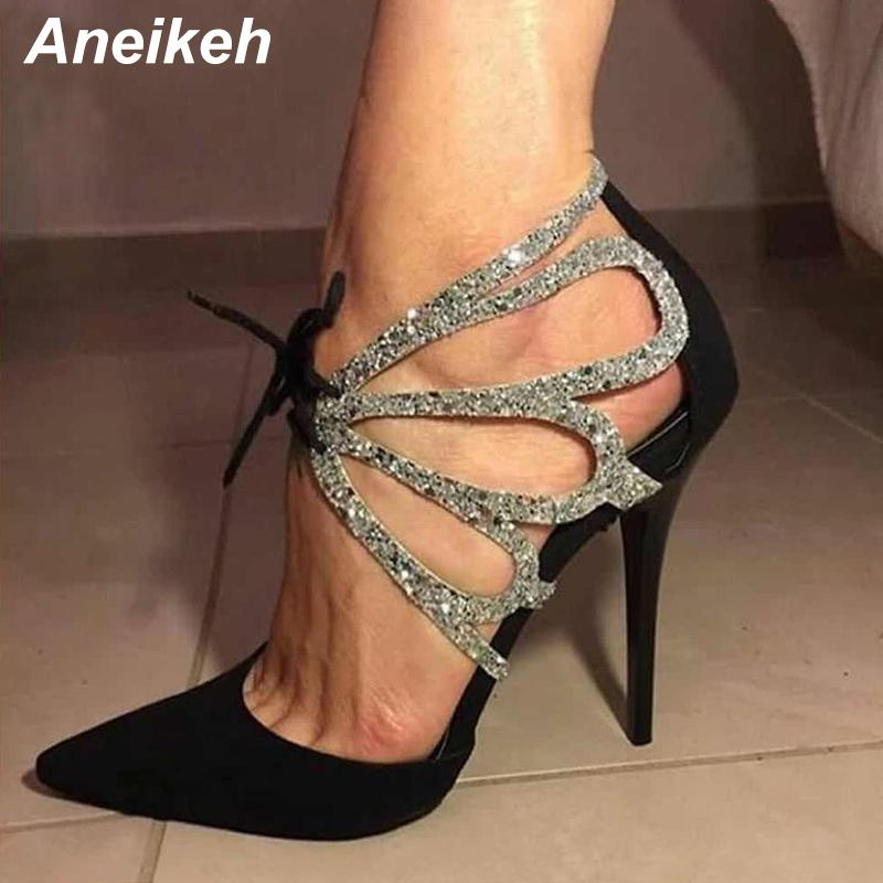 0a31041860d 2019 Aneikeh 2019 Summer Shoes Woman Pumps High Thin Heels Pointed Toes  Rhinestone Butterfly Bling Gladiator Pumps Party Sexy Shoes From Kaochange