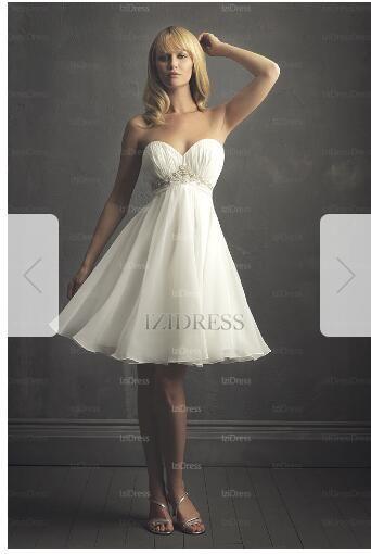 40b92df9bba1 Empire Strapless Sweetheart Knee Length Chiffon Wedding Dress 77 Brides  Wedding Dresses Lace Wedding Dresses Cheap From Weddingdressmcx88, $219.1|  DHgate.