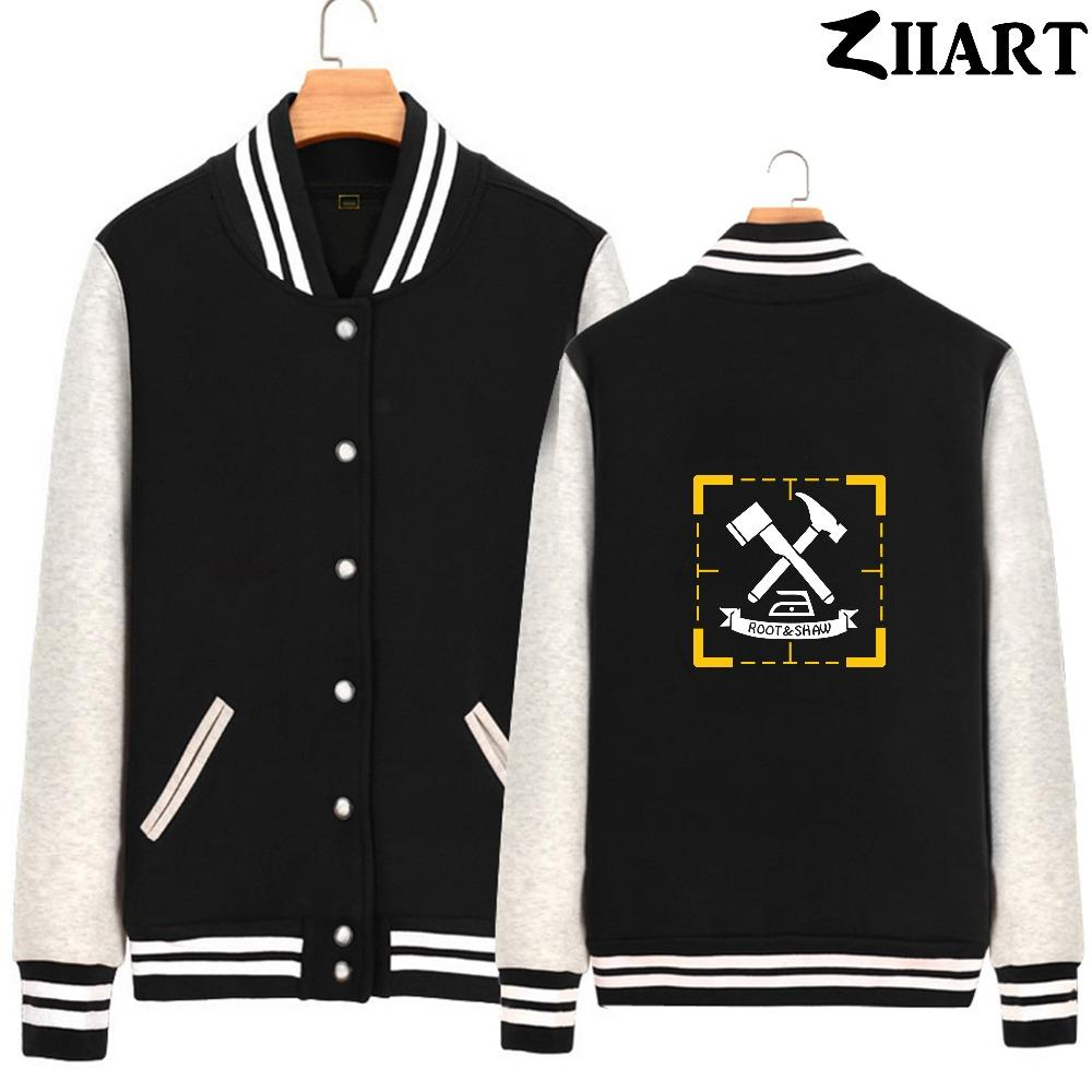 root shaw Person of Interest yellow box Couple Clothes Man Boys Full Zip  Autumn Winter Fleece Baseball jackets ZIIART