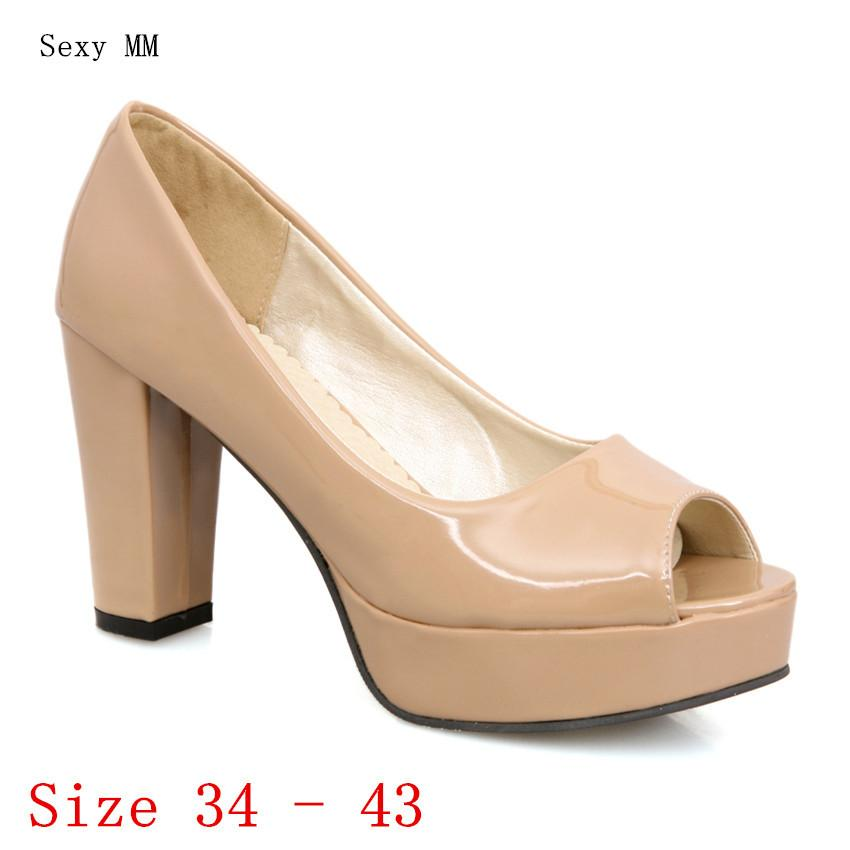 59f29f570b Women High Heels Peep Toe Platform Pumps Woman Party wedding Shoes High  Heel Shoes Kitten Heels Plus Size 34 - 40 41 42 43