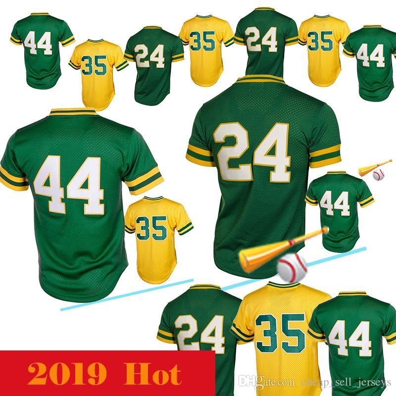 huge discount d72d9 2f3aa 24 Rickey Henderson 44 Reggie Jackson baseball jersey
