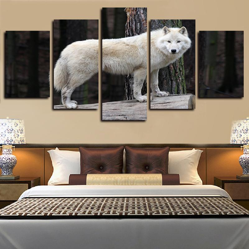 5 Panels White Forest Wolf Staring Artworks Giclee Canvas Wall Art Abstract Poster HD Canvas Print Oil Painting Wall Decor